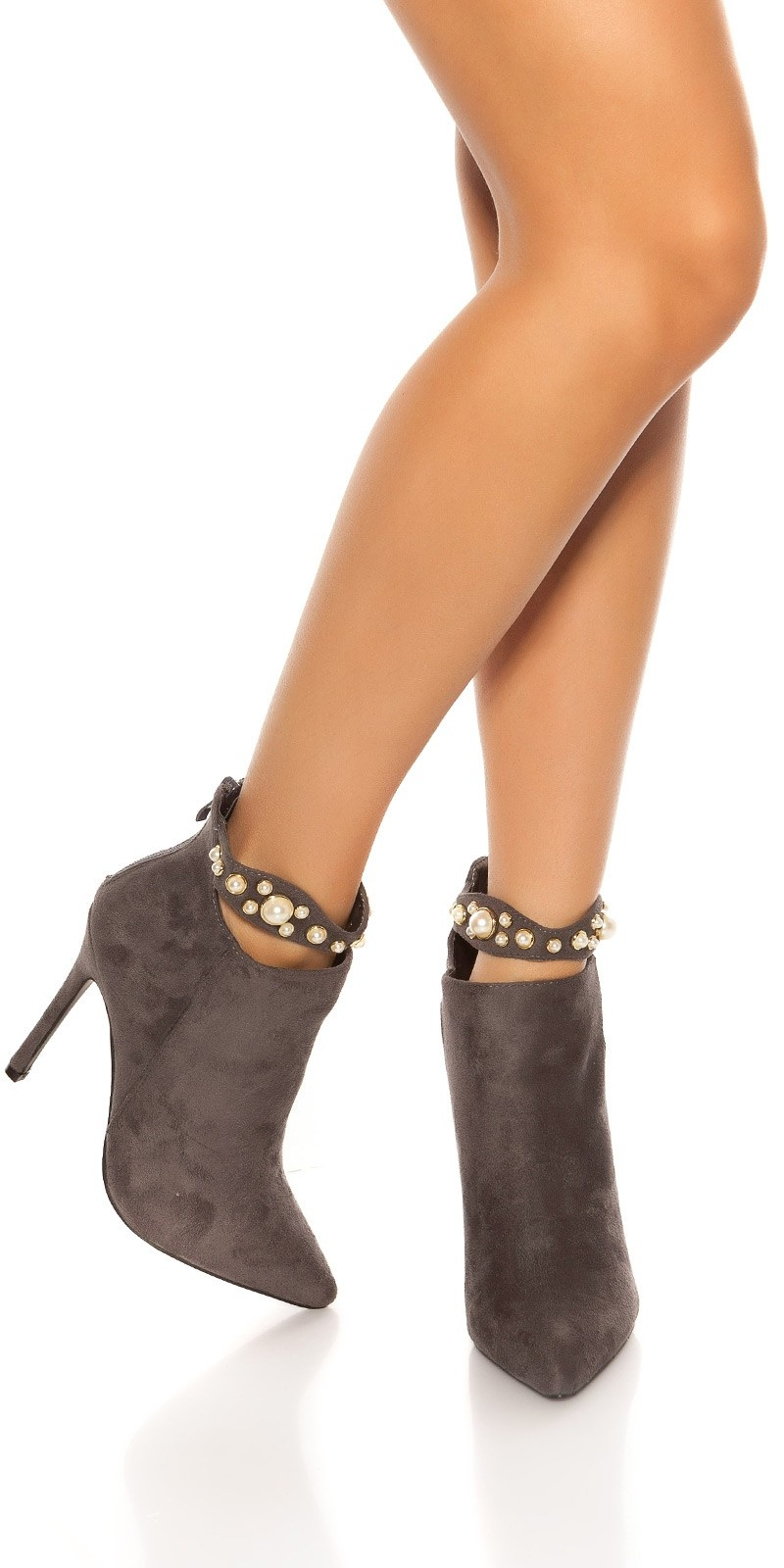 Sexy hoge hakken / enkel laarzen met parel decoratie grijs