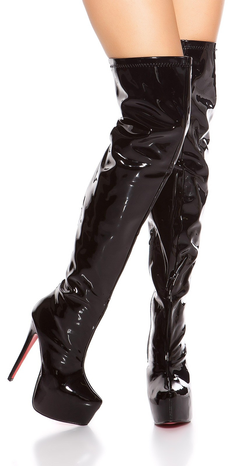 Sexy platform overknees boots patent leather look Black