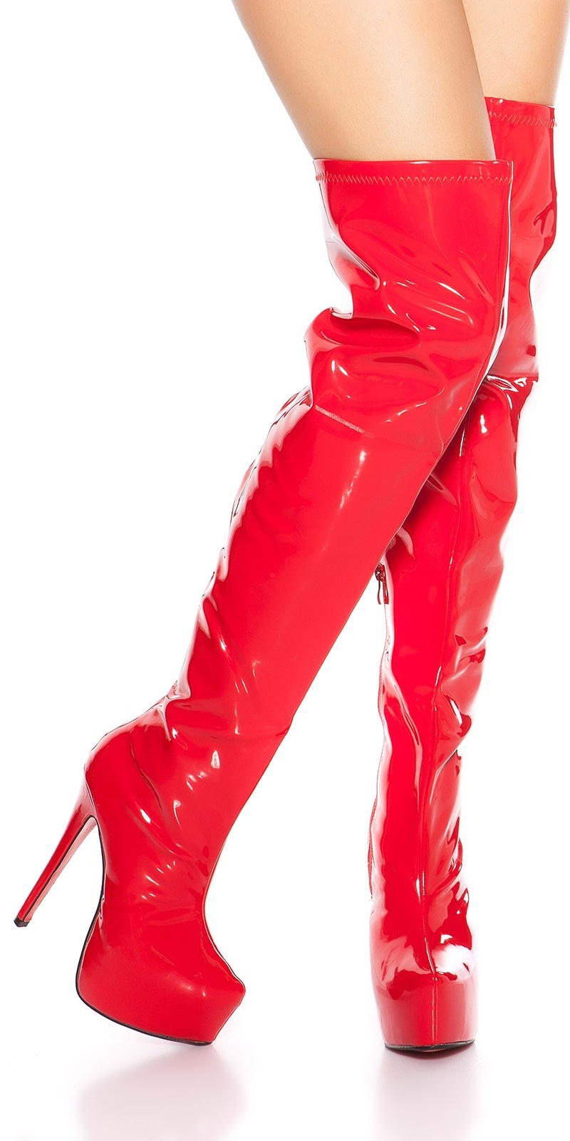 Sexy platform overknees boots patent leather look Red