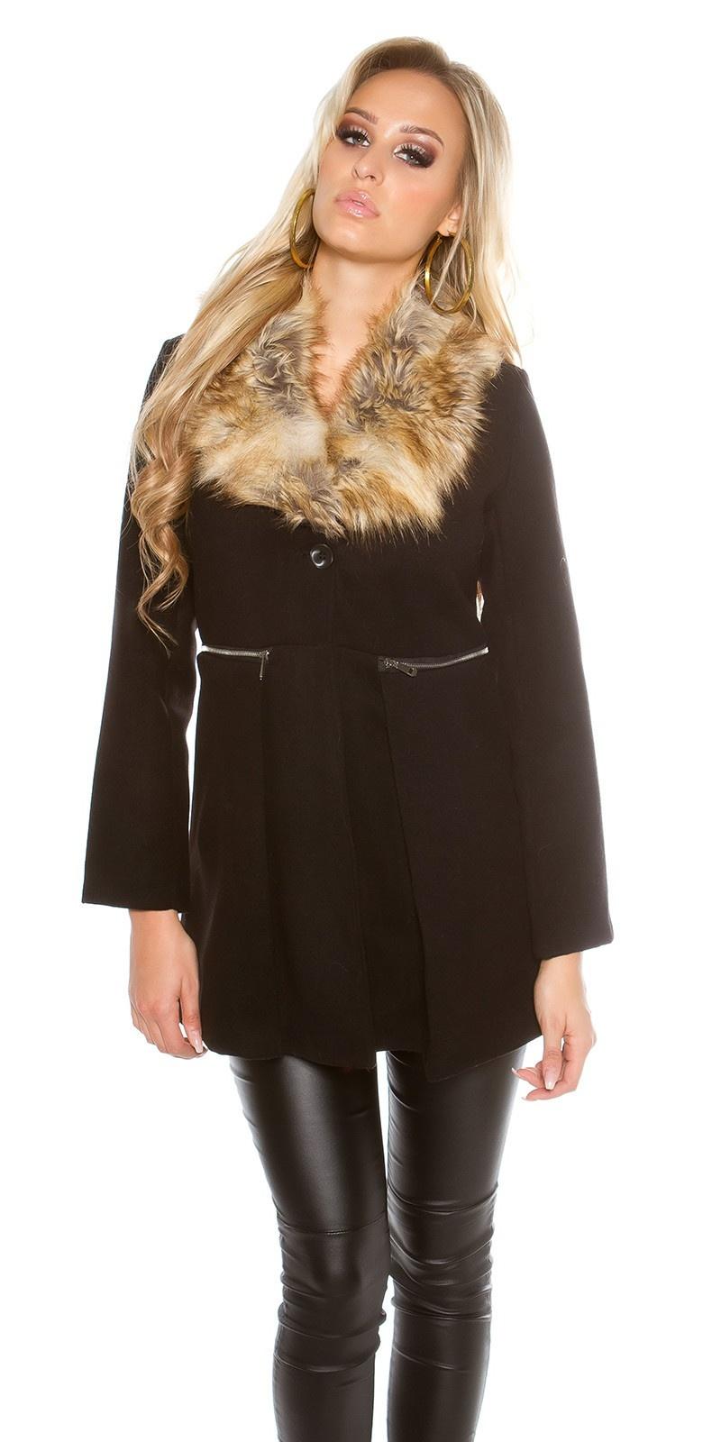 Trendy mantel met nep bont kraag zwart