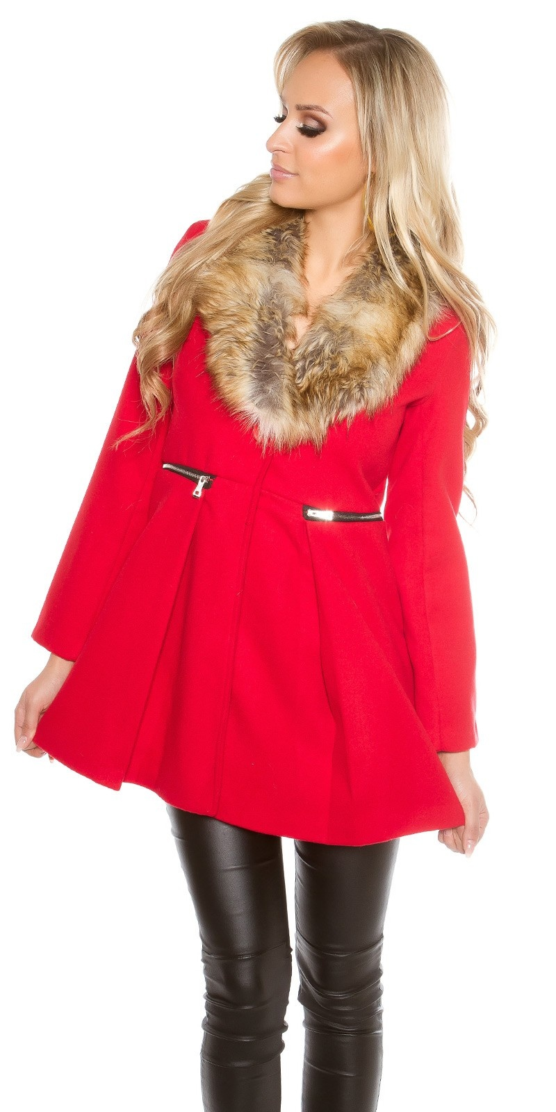 Trendy mantel met nep bont kraag rood