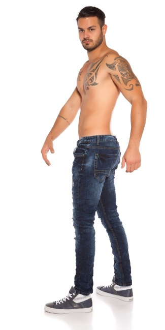Trendy men jeans in used look Jeansblue