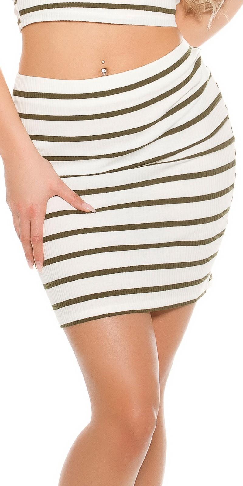 Sexy geribbelde mini rokje gestreept khaki