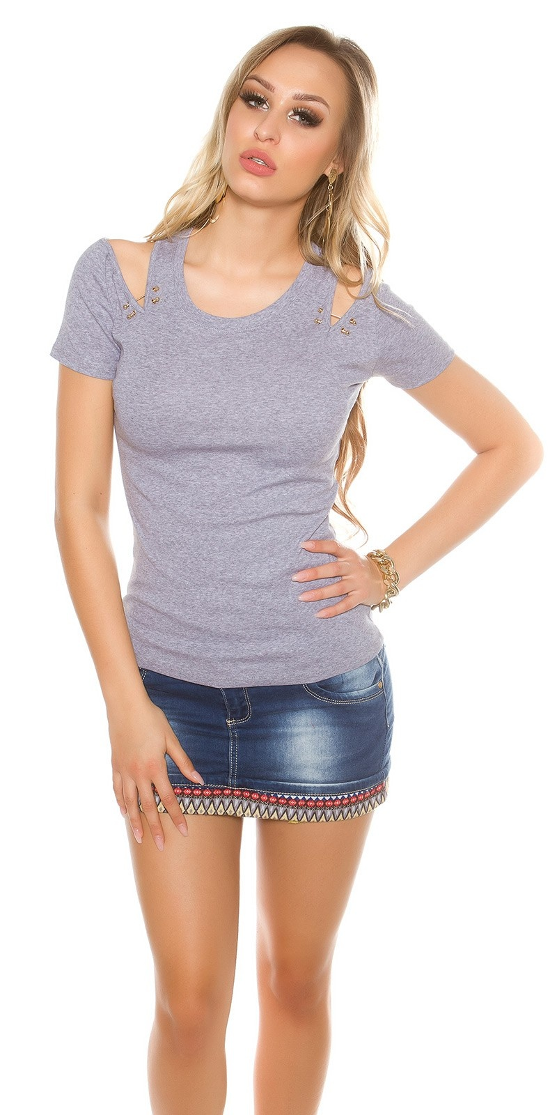 Sexy coldshoulder shirt with decorative sticks Grey