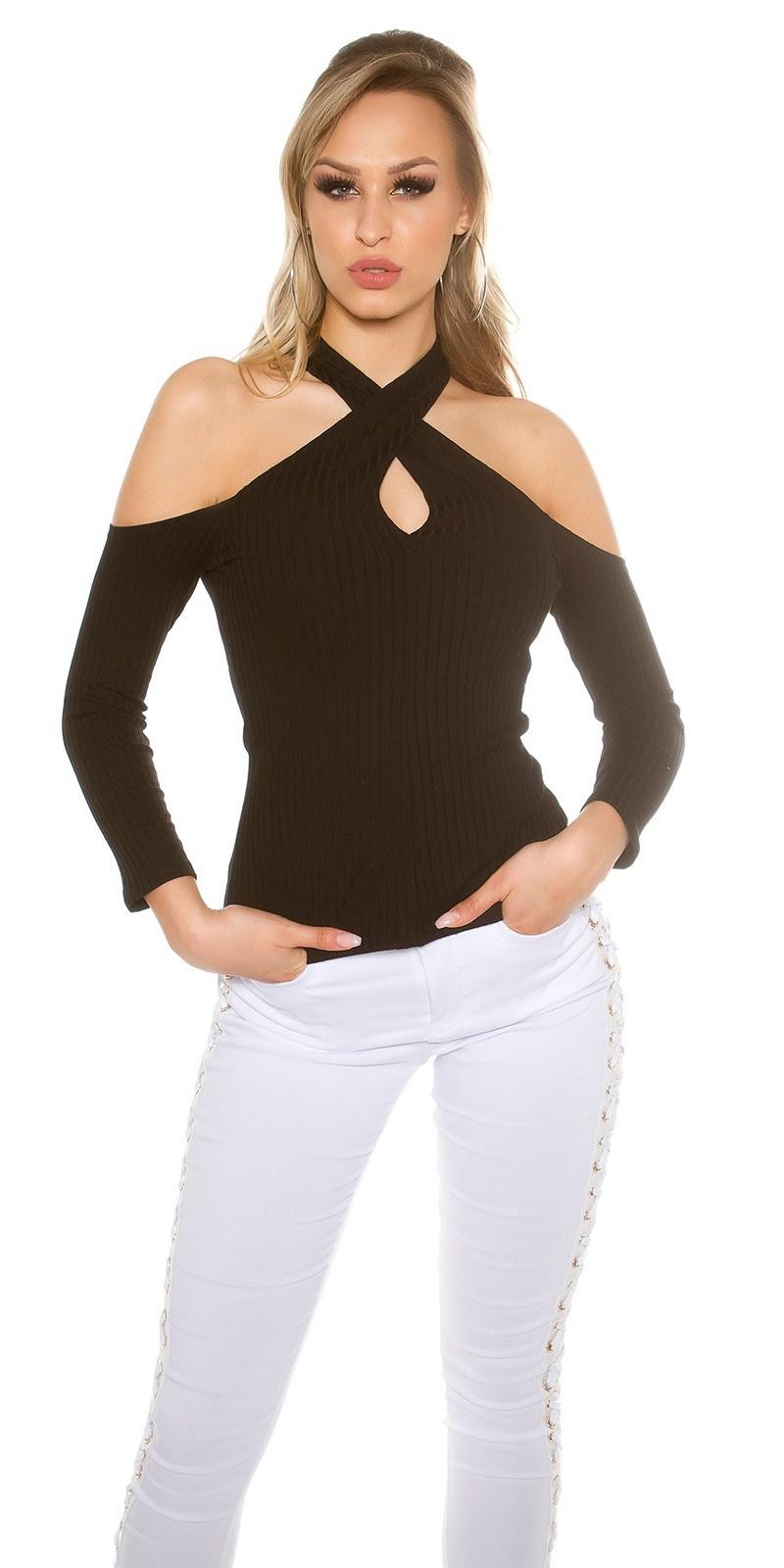 Sexy blote schouder halter geribde pullover zwart