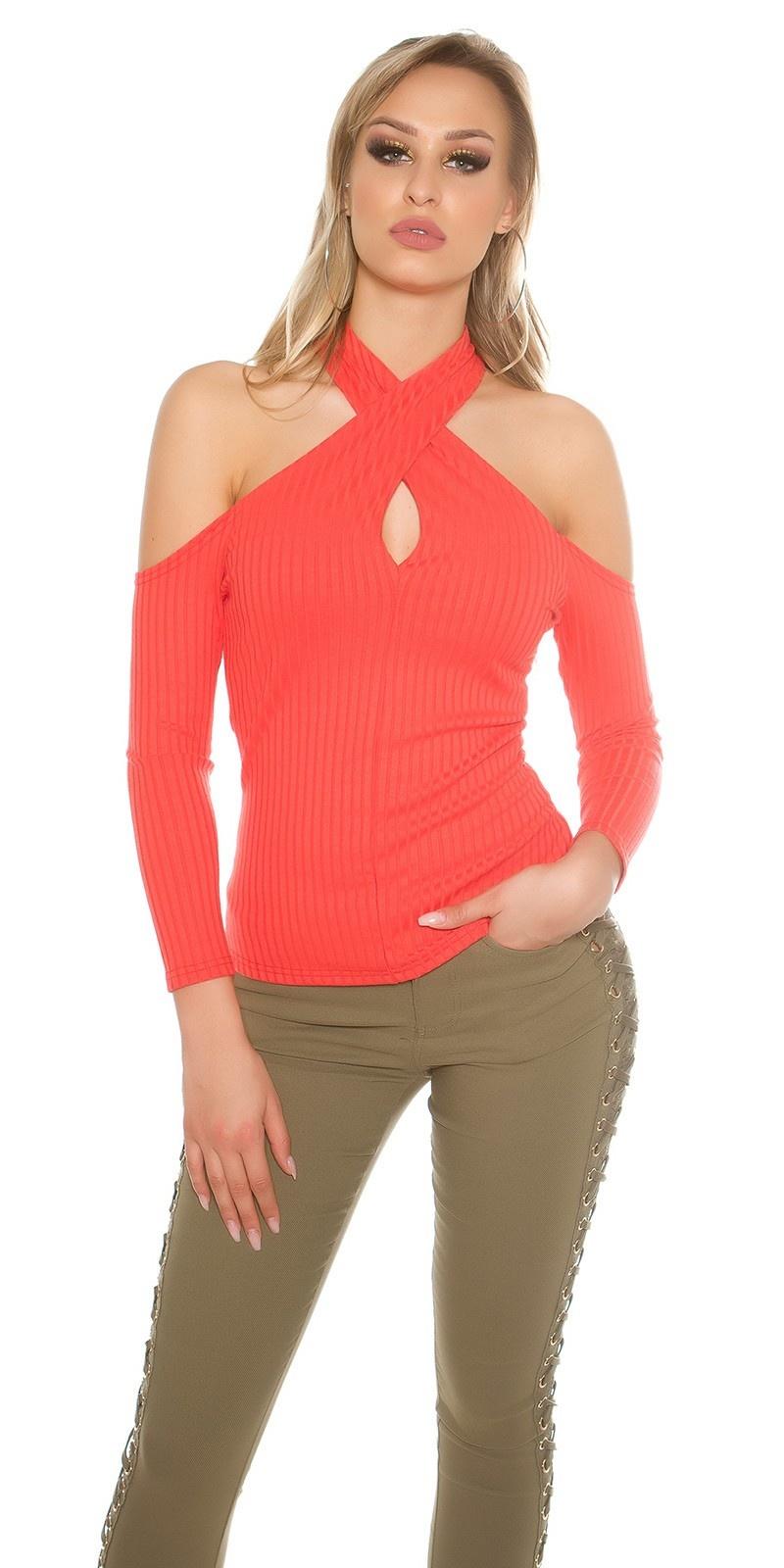 Sexy blote schouder halter geribde pullover koraal-kleurig