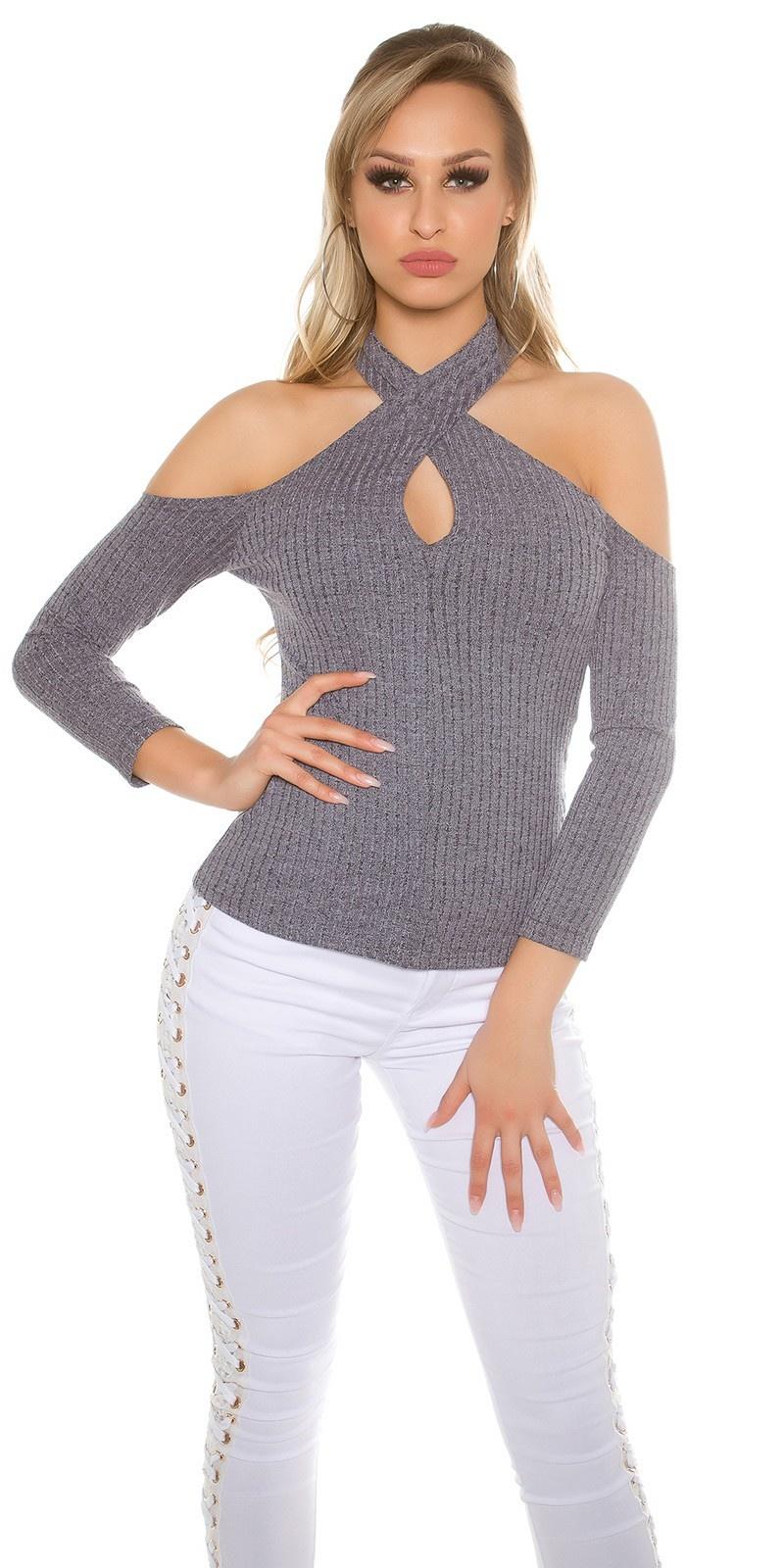 Sexy blote schouder halter geribde pullover grijs