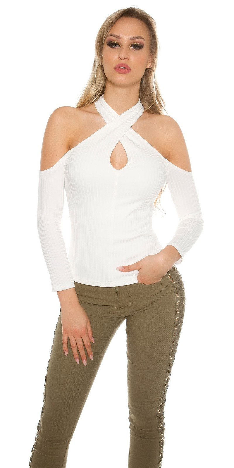 Sexy blote schouder halter geribde pullover wit