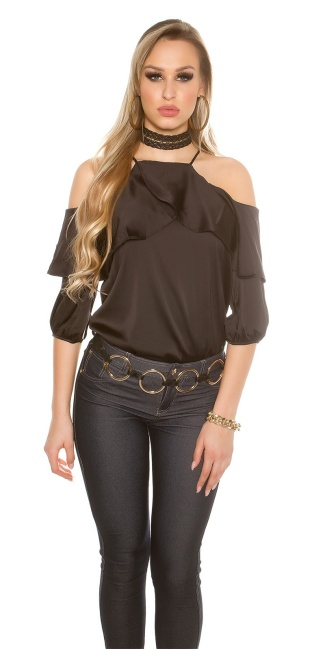 f63aa12c010 Sexy Cold Shoulder Shirt with Volant satin look Black