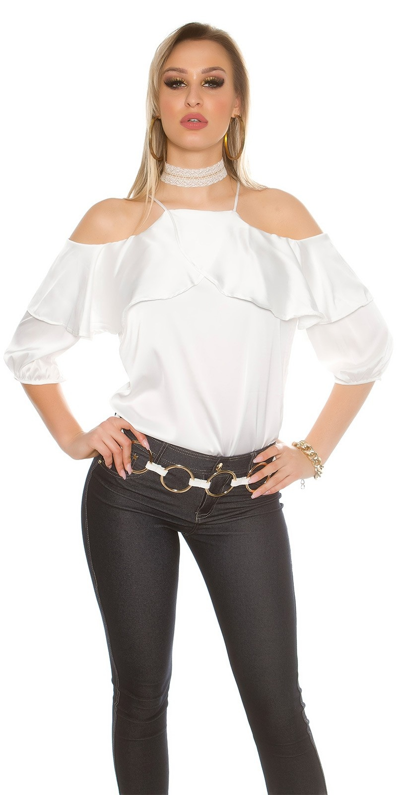 Sexy Cold Shoulder Shirt with Volant satin look White