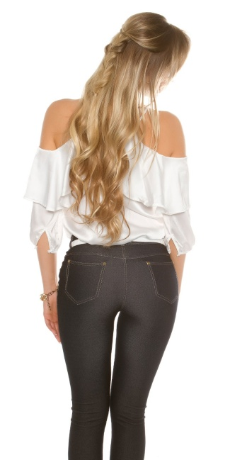 b61f20efd97 Sexy Cold Shoulder Shirt with Volant satin look White