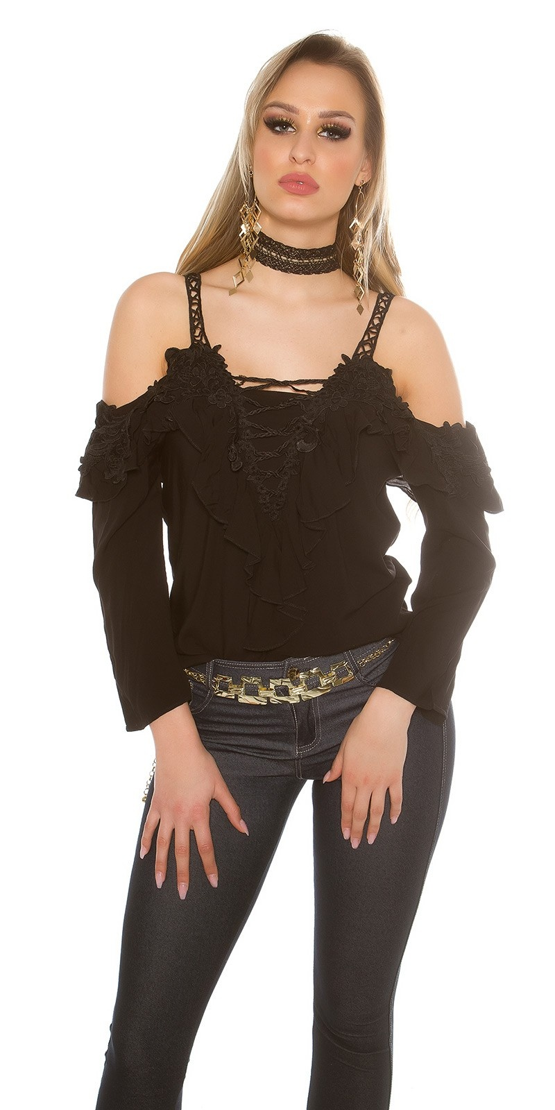Sexy Carmenlook Blouse with flounce and lace Black
