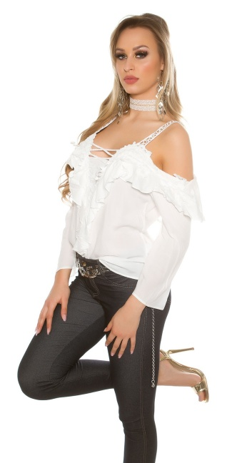 Sexy Carmenlook Blouse with flounce and lace White