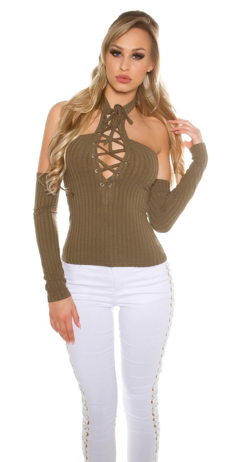 Sexy Neck Shirt shoulder-free w.laced decollete Khaki