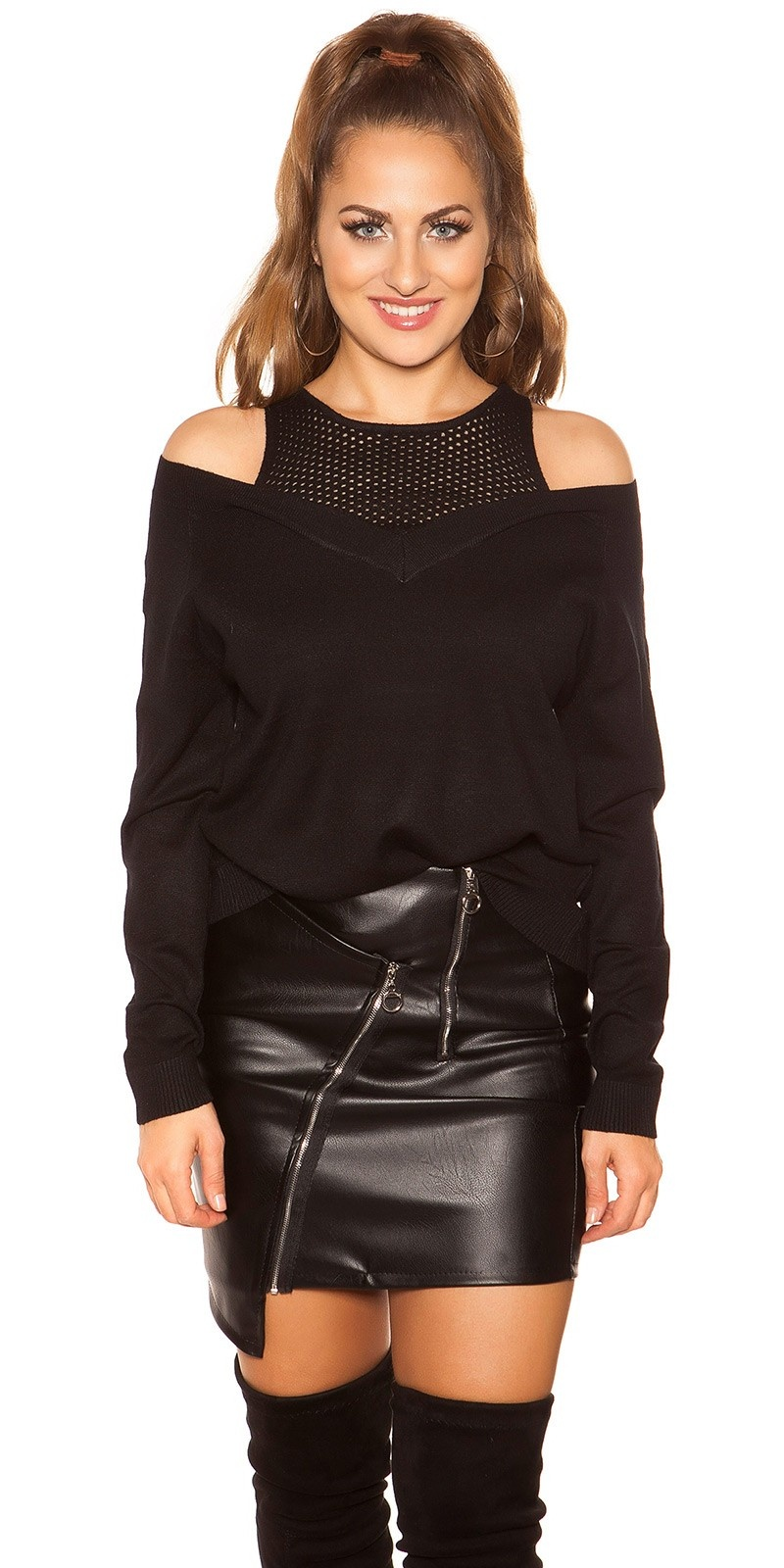 Trendy 2in1 look sweater-trui zwart