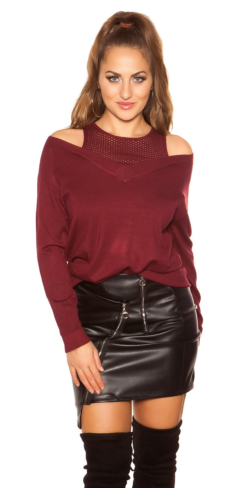 Trendy 2in1 Look sweater Bordeaux