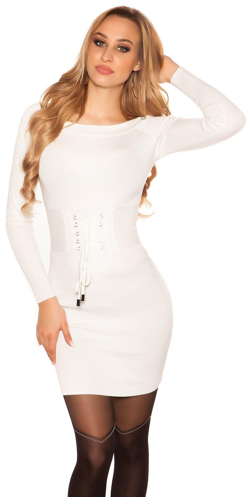 Sexy gebreid mini jurkje met veter wit