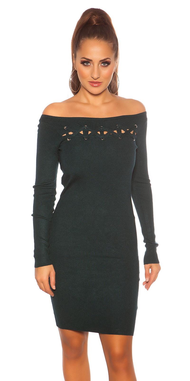 Sexy gebreide jurk met veter donkergroen