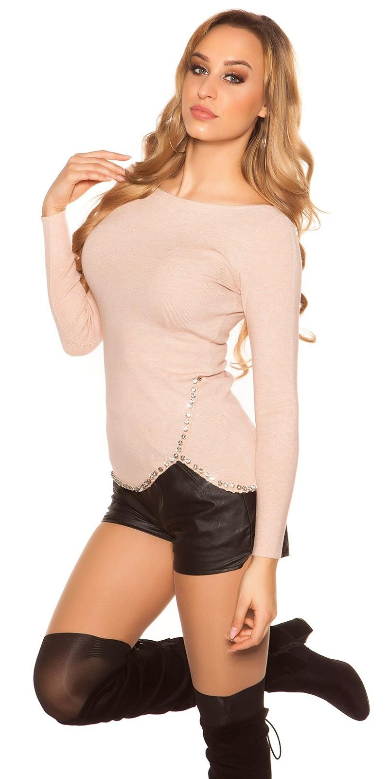 Trendy sweater-trui met xl strass steentjes antiekroze
