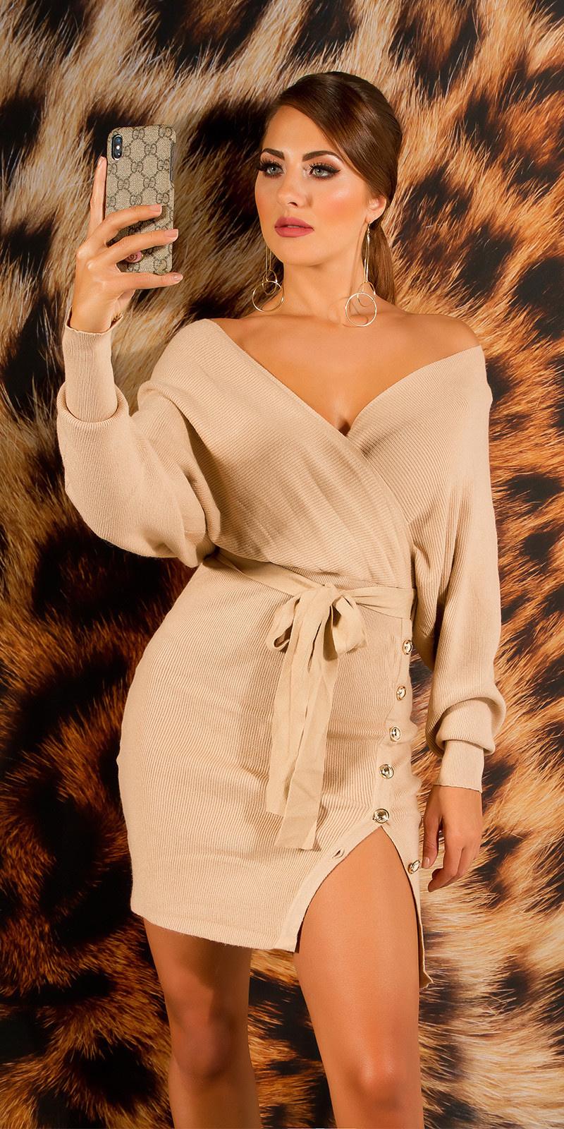 Elegante v-hals gebreide jurk met split beige