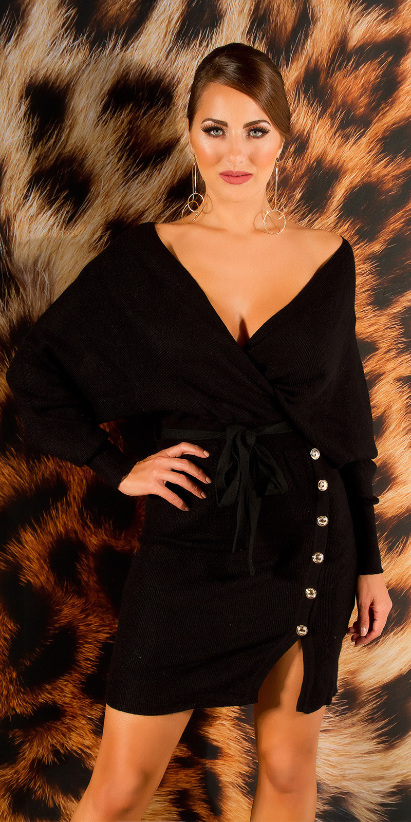 Elegante v-hals gebreide jurk met split zwart