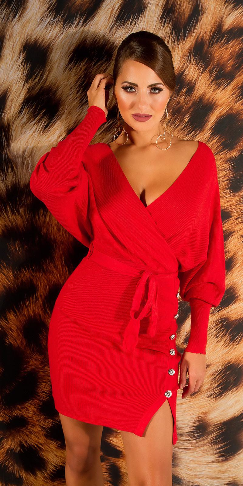 Elegante v-hals gebreide jurk met split rood