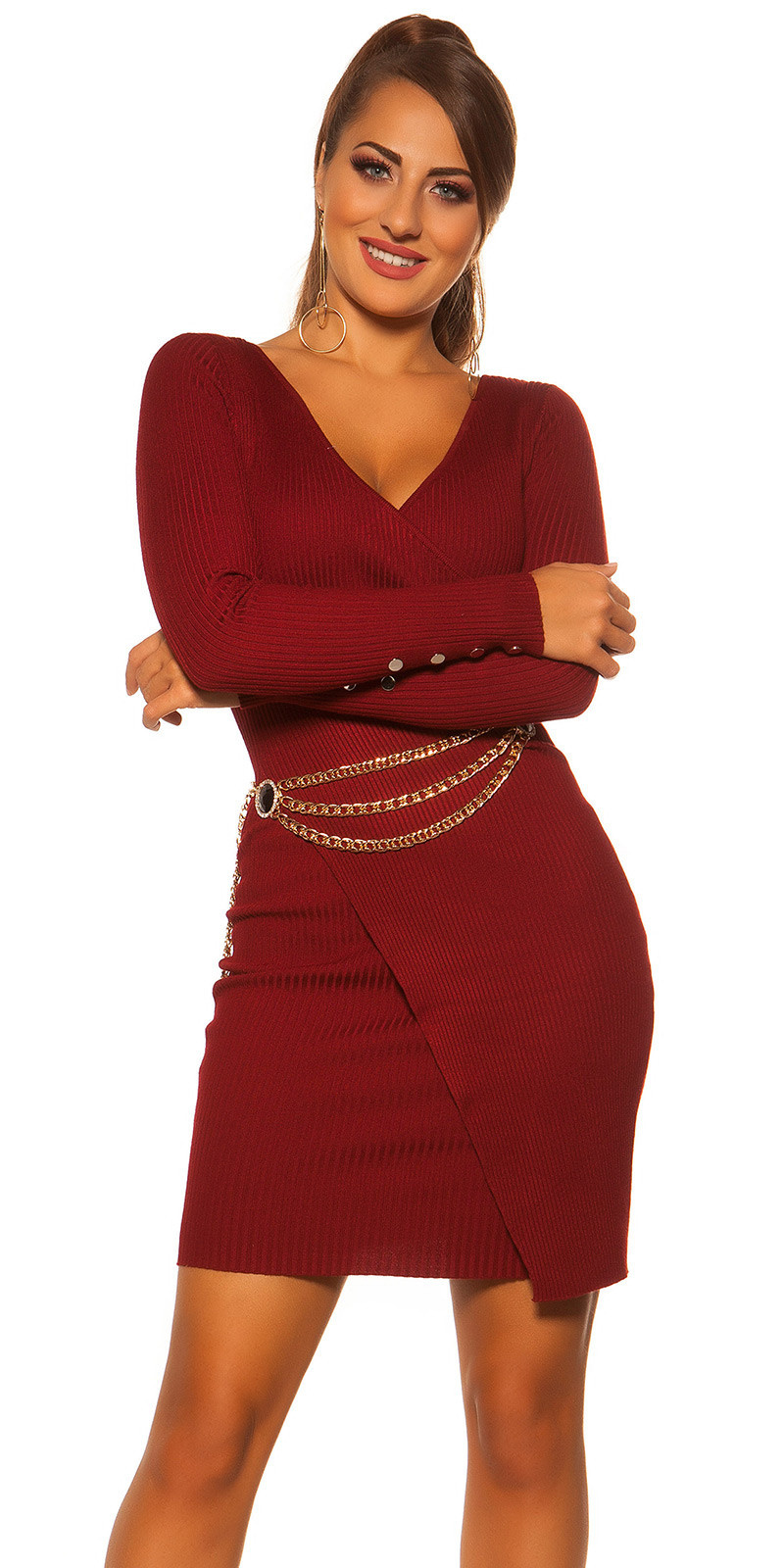 Sexy longsleeve rib knit dress wrap look Bordeaux