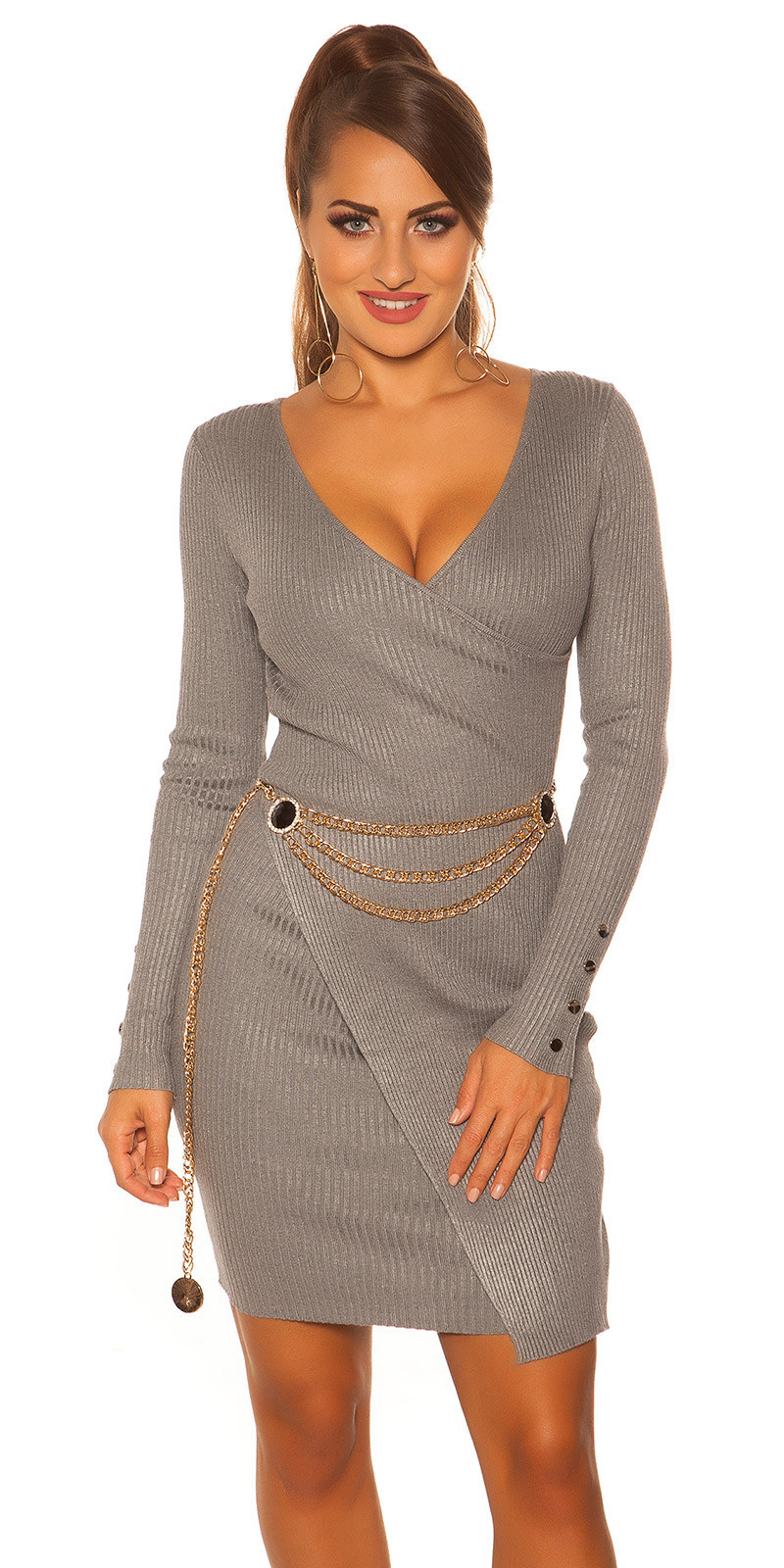 Sexy longsleeve rib knit dress wrap look Grey