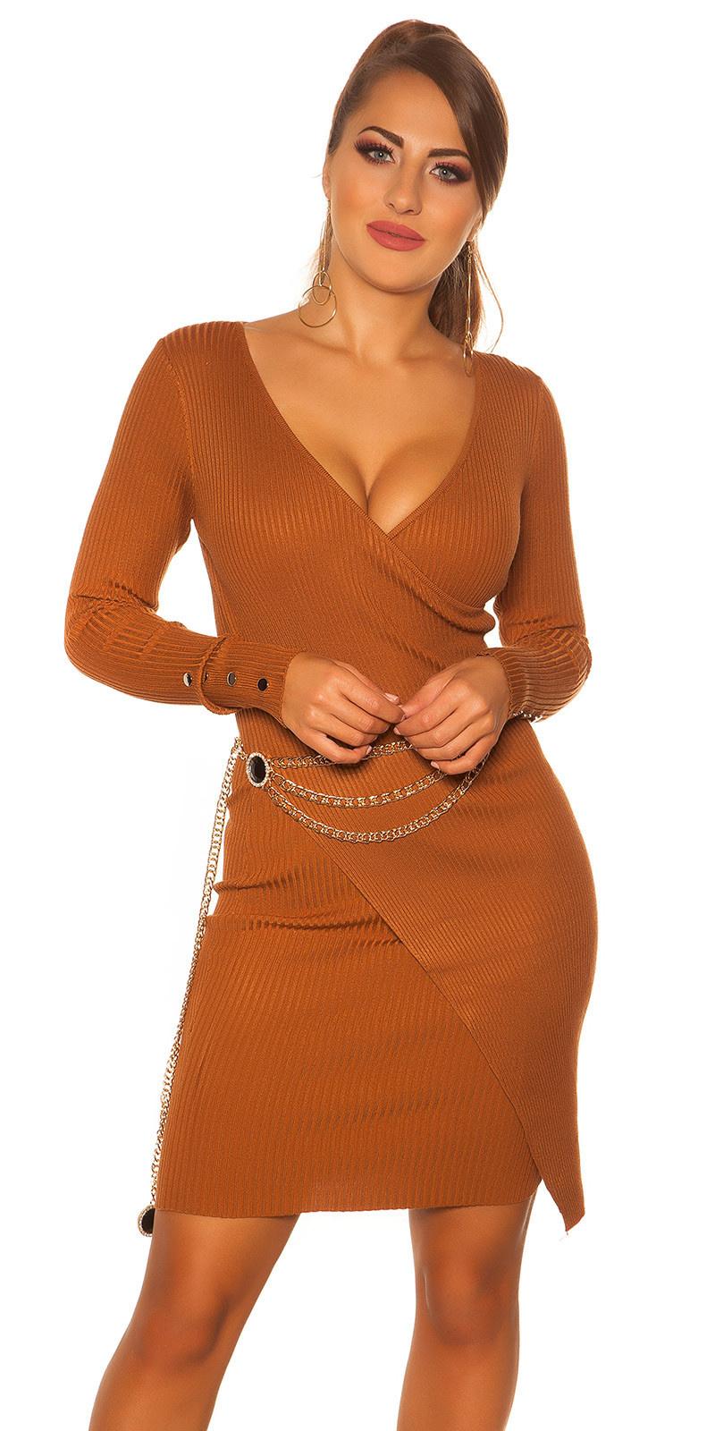 Sexy longsleeve rib knit dress wrap look Ochre