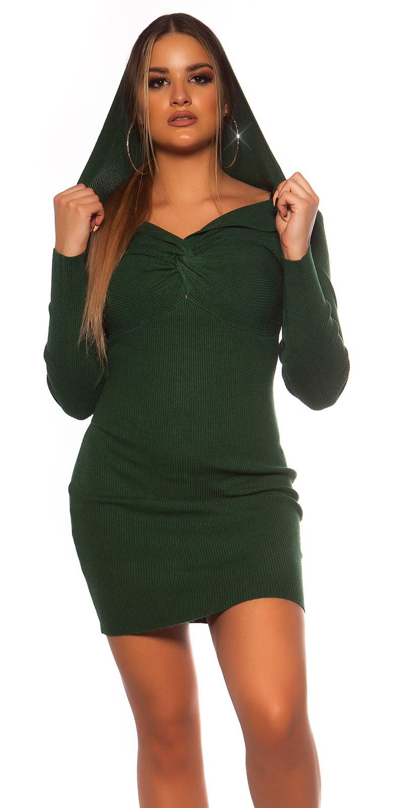 Sexy rib gebreid mini jurkje met v halslijn & capuchon groen