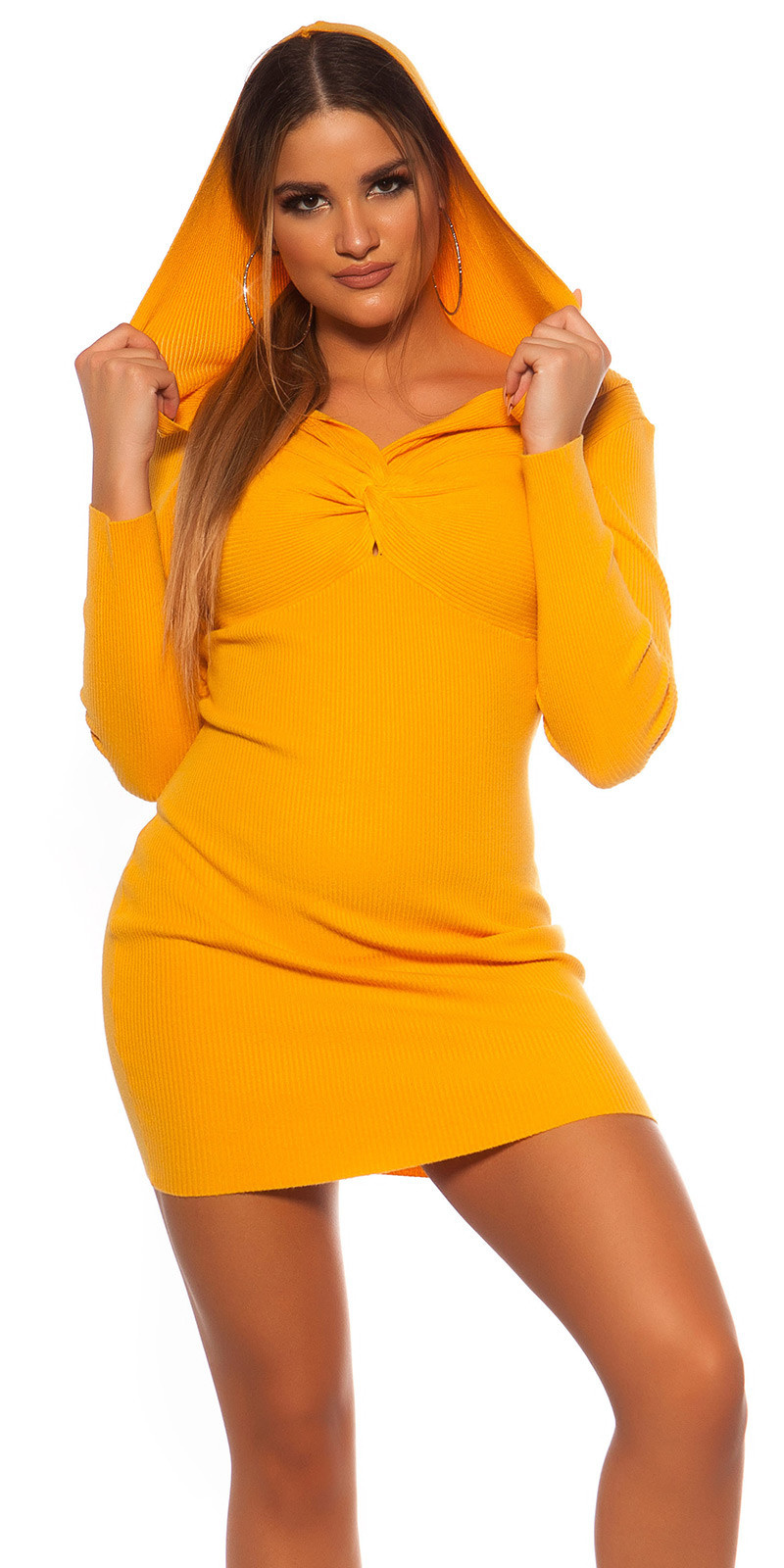 Sexy Rib knit Mini dress w. V neckline & hoodie Mustard