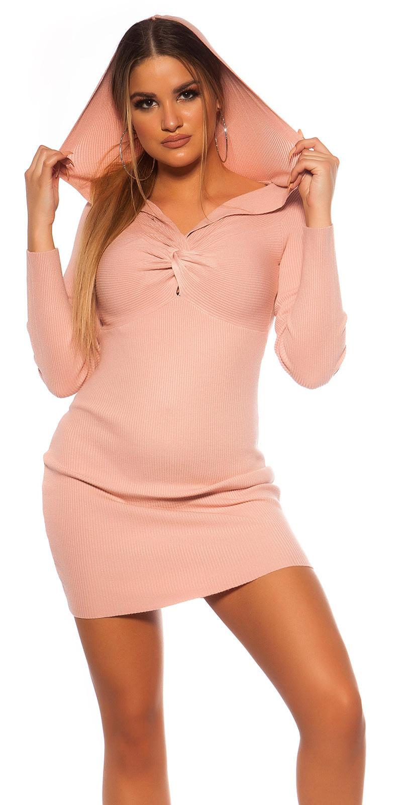 Sexy rib gebreid mini jurkje met v halslijn & capuchon roze