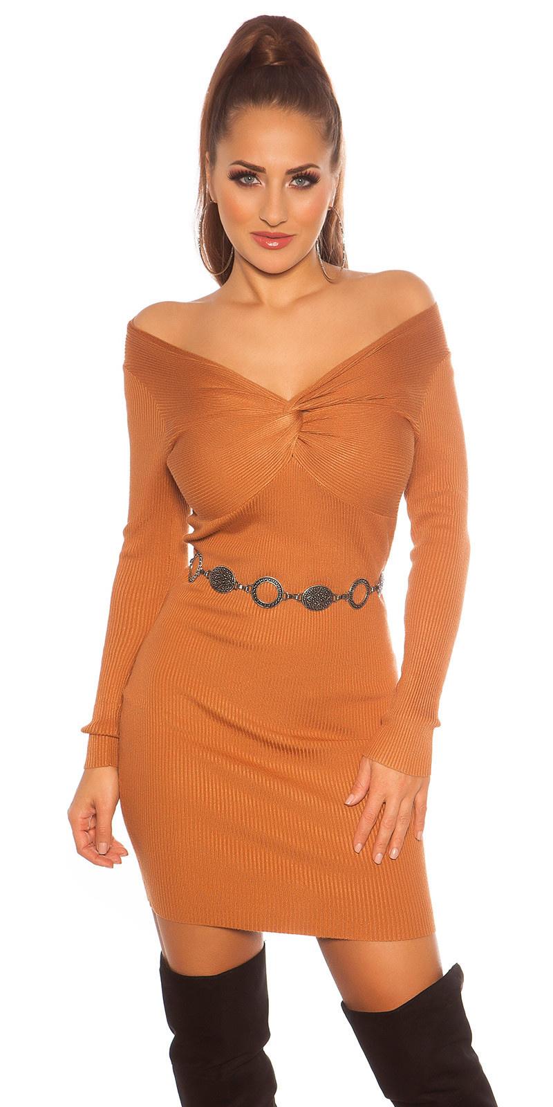 Sexy gebreide jurk wikkel look cappuccino
