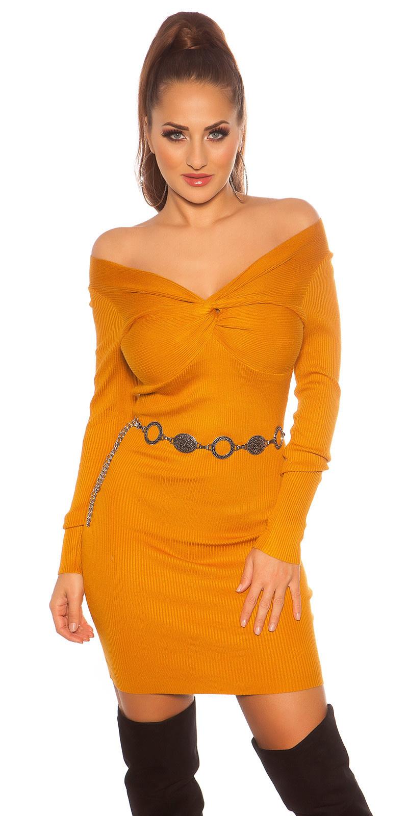 Sexy gebreide jurk wikkel look mosterdgeel