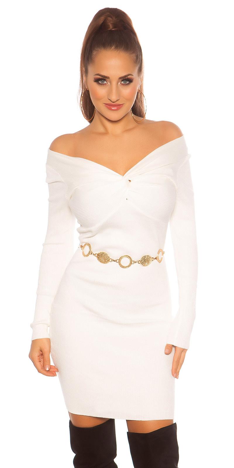 Sexy gebreide jurk wikkel look wit