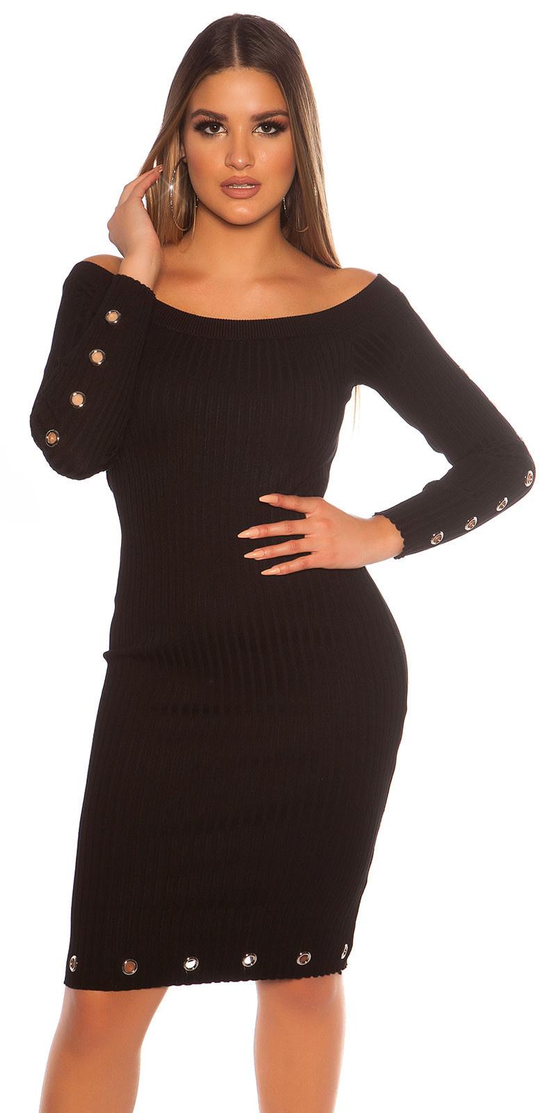 Sexy geribbelde gebreide jurk met oogjes zwart