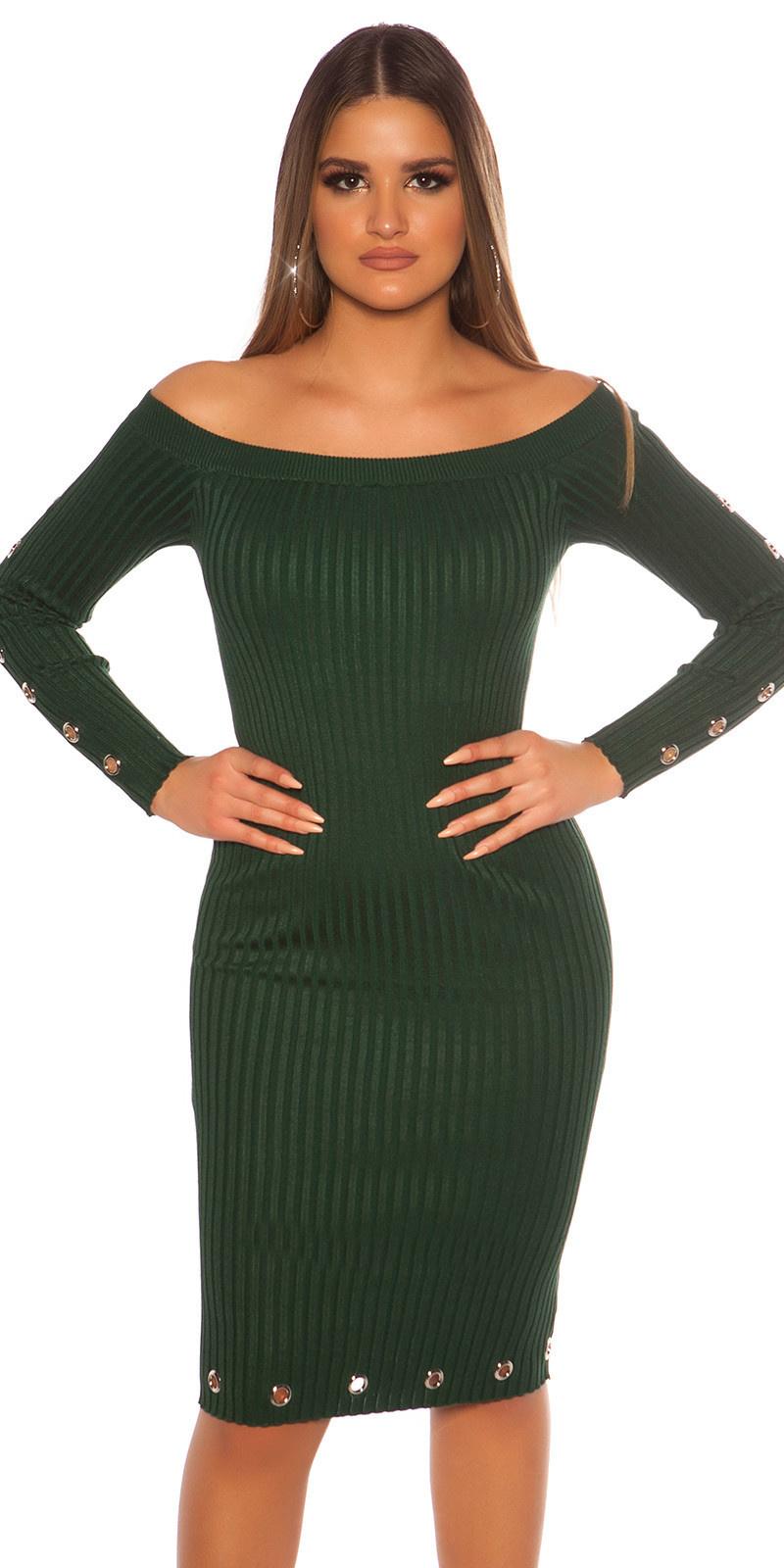 Sexy geribbelde gebreide jurk met oogjes groen