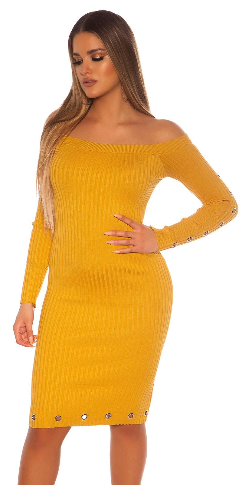 Sexy geribbelde gebreide jurk met oogjes mosterdgeel