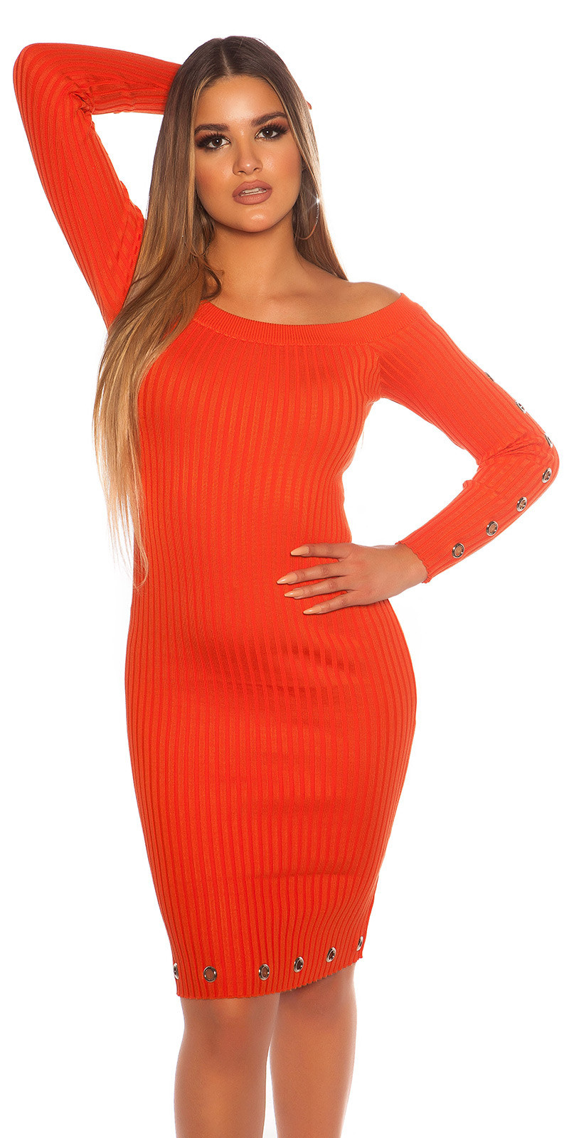 Sexy ribbed knit dress with eyelets Orange
