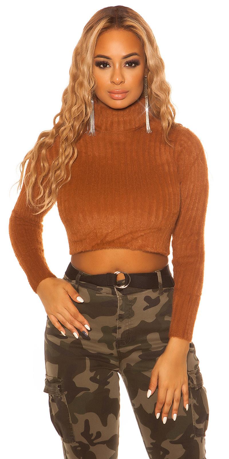 Sexy fleecy knit turtleneck jumper Bronze