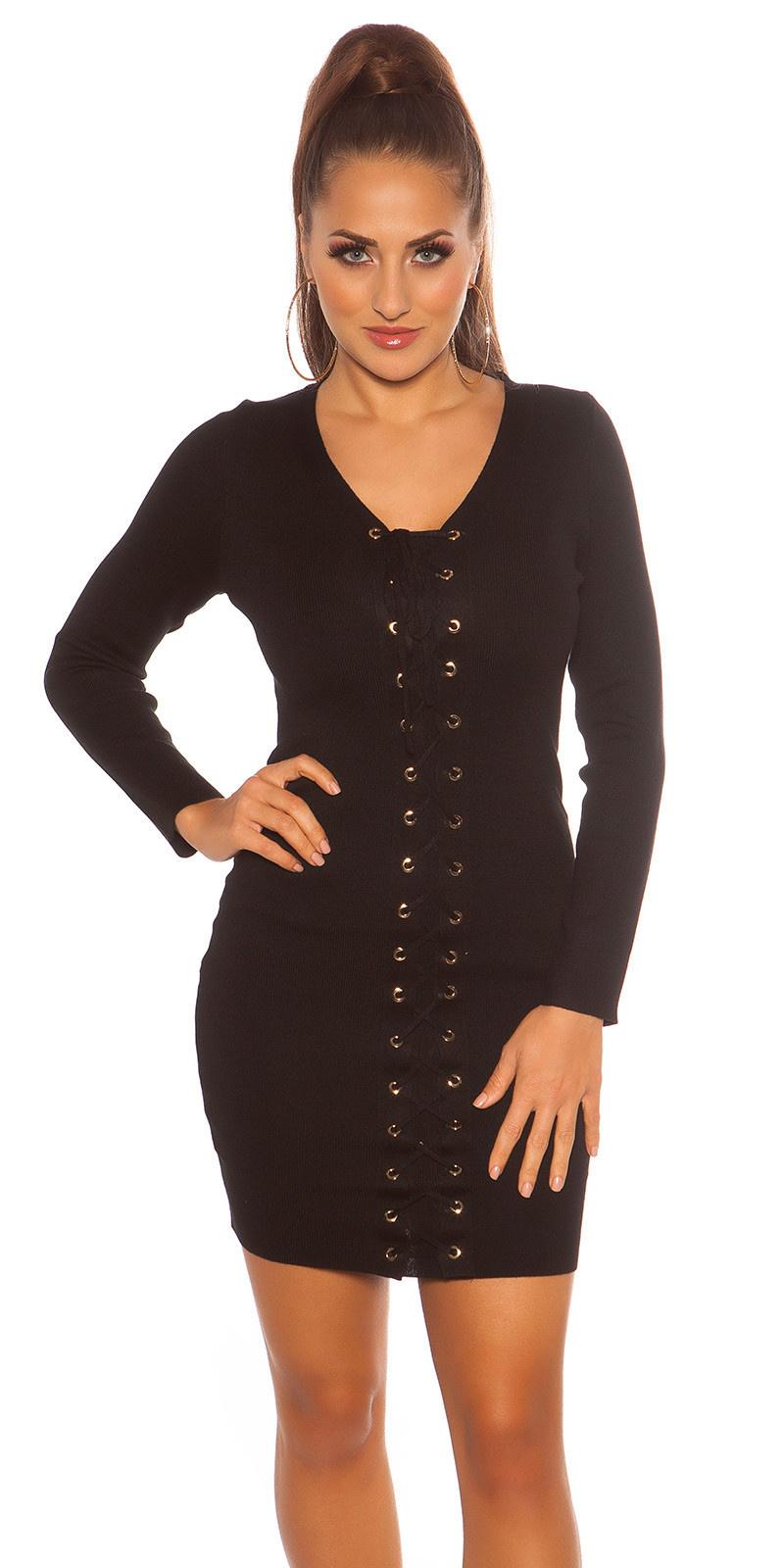 Sexy gebreid mini jurkje met veter zwart