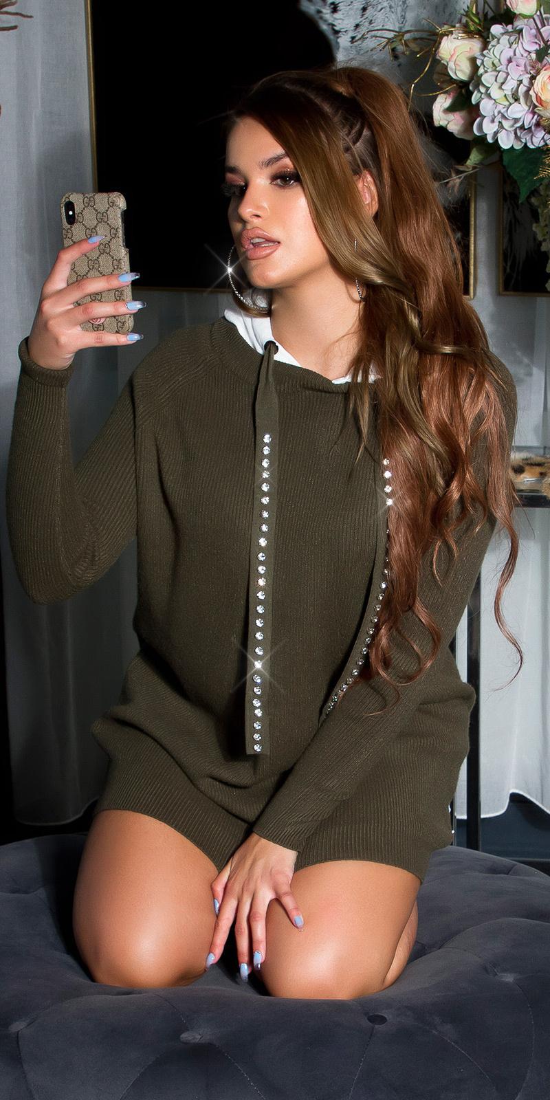 Sexy lange sweater-trui met capuchon en shiny steentjes khaki