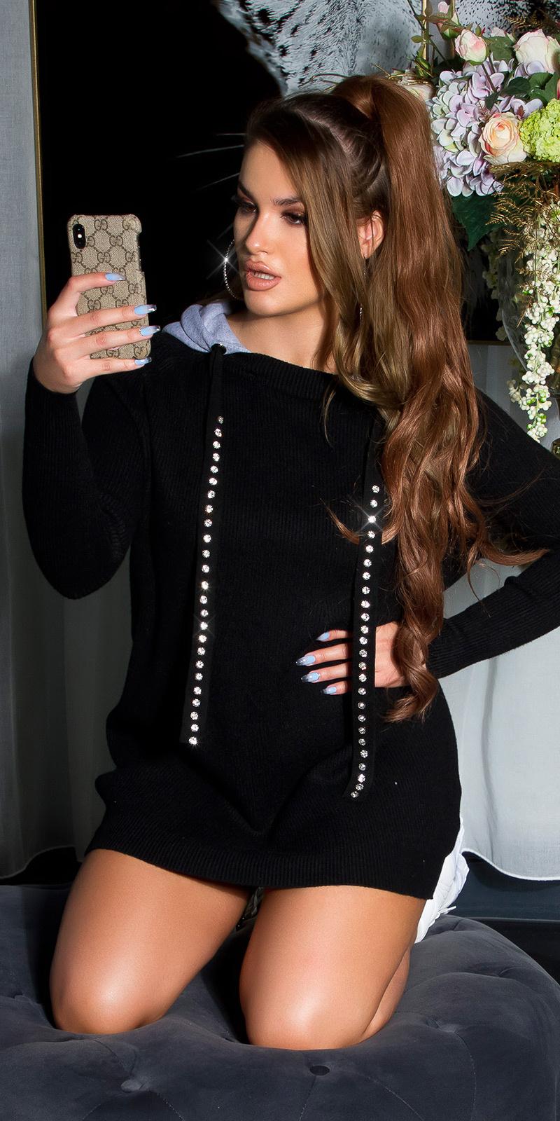 Sexy lange sweater-trui met capuchon en shiny steentjes zwart