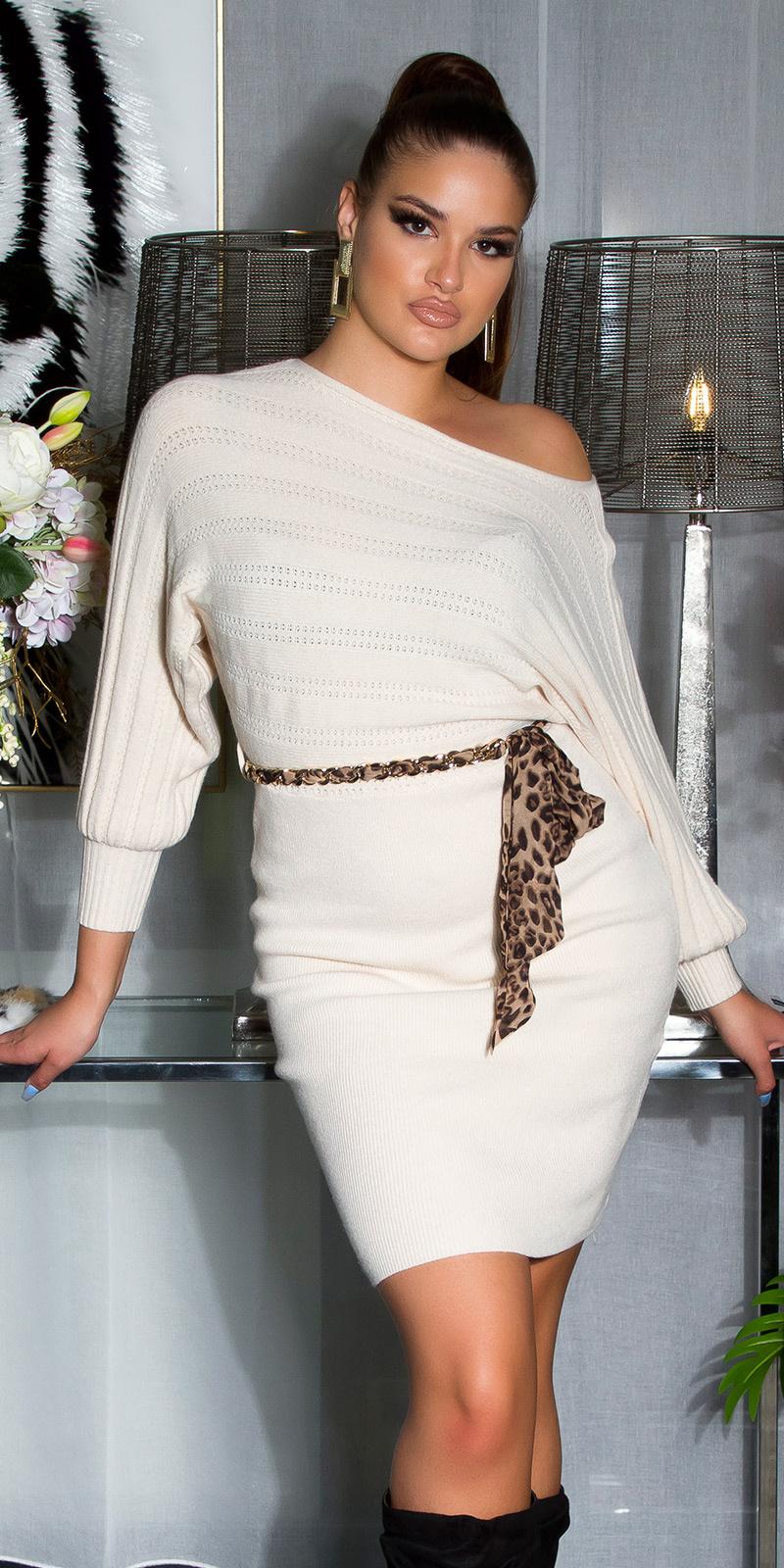 Sexy gebreide jurk met ketting riem wit