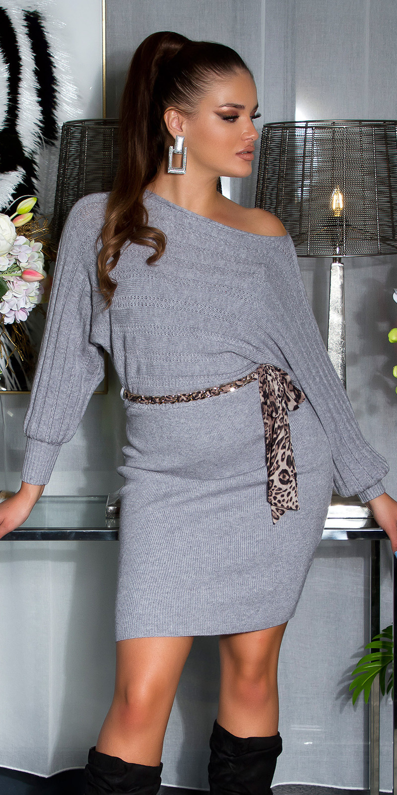 Sexy Knit Dress !WITH CHAIN BELT! Gray