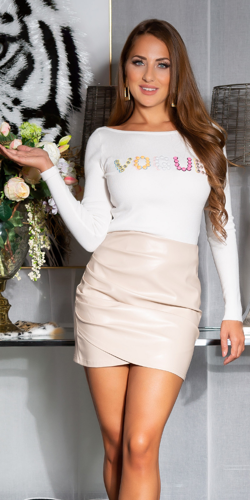 Sexy vogue sweater-trui wit