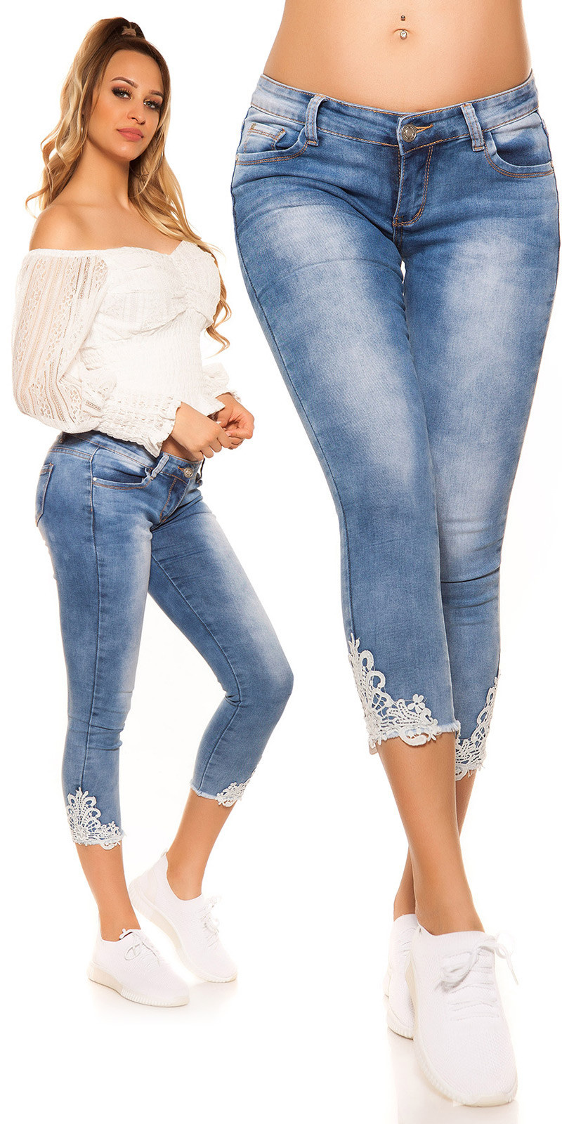 Sexy 7/8 jeans with lace Jeansblue