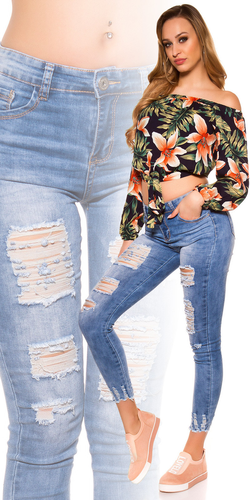 Sexy skinny jeans used look with cracks Jeansblue