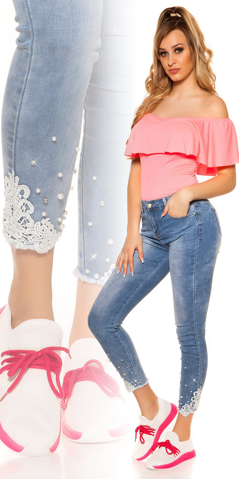 Sexy hoge taille jeans met kant & strass steentjes jeansblauw