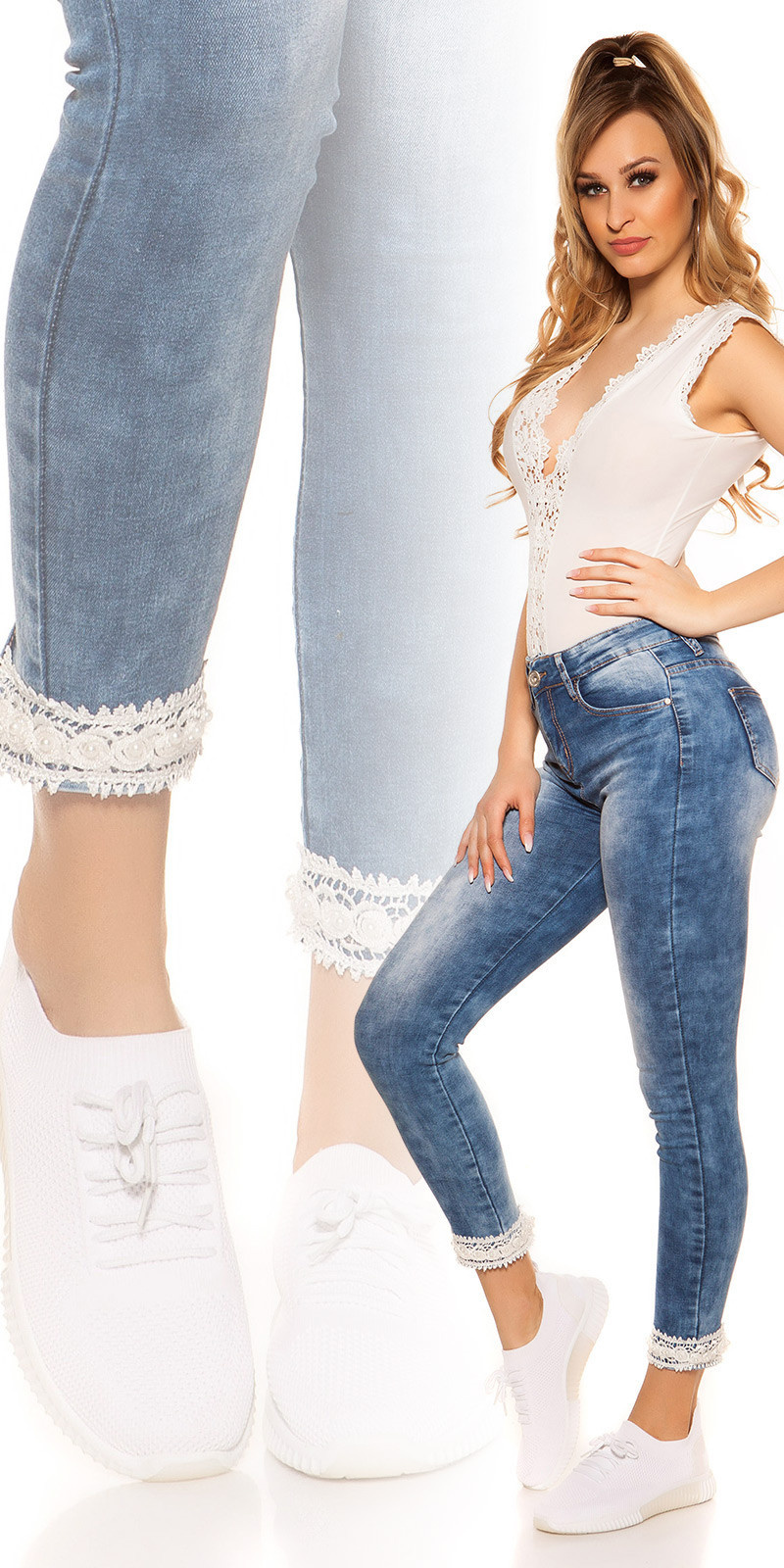 Sexy high waist jeans with lace & pearls Jeansblue